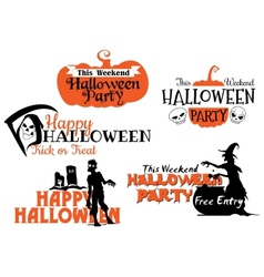 Halloween party banners set vector