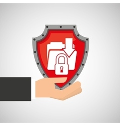 Hand holding folder file shield protection data vector