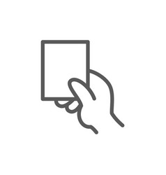 Hand showing card line icon vector
