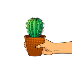 hand with cactus pop art vector image