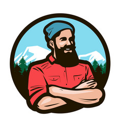 Happy woodcutter lumberjack with arms crossed vector
