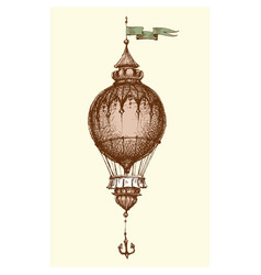 hot air balloon vintage isolated hand drawing vector image