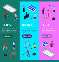 Ice hockey arena competition concept banner vector