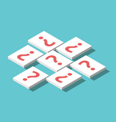 Isometric question mark cards vector