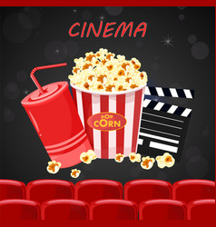 Juice and popcorn for movie night poster vector