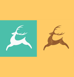 jumping deer logo silhouette of stylized deer vector image