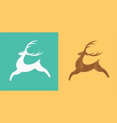jumping deer logo silhouette stylized deer vector image