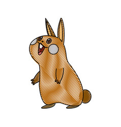 kawaii funny rabbit animal cartoon image vector image