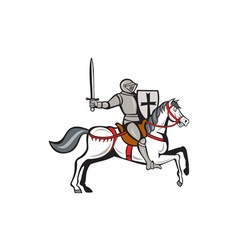 Knight Steed Wielding Sword Cartoon vector image