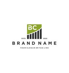 Letter bc chart financial logo design vector