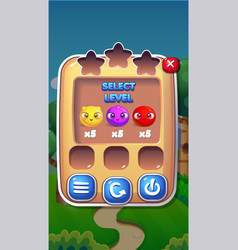 level select mobile game user interface gui assets vector image