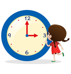 little girl with blue clock vector image