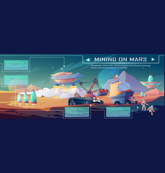 Mining on mars infographics planet colonization vector