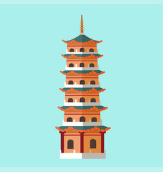 National architecture in taiwan hand drawn icon vector