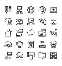 Network and cloud computing line icons vector