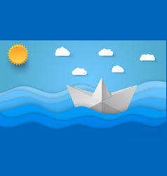 Origami style sea background vector