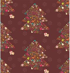 Ornamental Christmas tree with reindeers vector