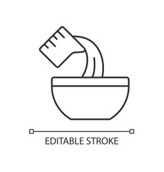 Pour cooking ingredient linear icon vector