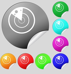 radar icon sign Set of eight multi colored round vector image