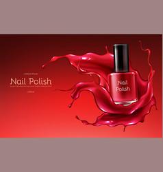 Red nail polish realistic promo banner vector