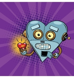 Retro robot and the light bulb heart Valentine vector