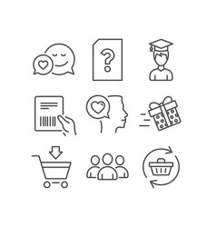 Romantic talk online market and group icons vector