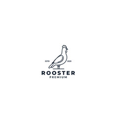 Rooster line icon simple logo design vector