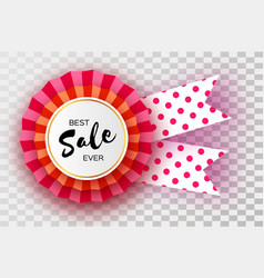 Sale red ribbon banner in paper cut style origami vector