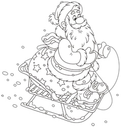 Santa sledding with gifts vector