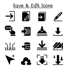 Save edit data icon set vector