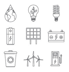 Save energy icon set outline style vector