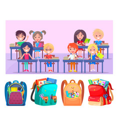 schoolchildren happy sitting at desk shcoolbags vector image