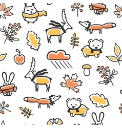 Seamless pattern with doodle autumn vector image
