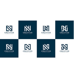 set initial letter n abstract logo template vector image