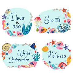 set isolated frames with underwater sea life vector image