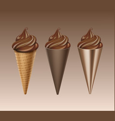 Set of chocolate soft serve ice cream waffle cone vector