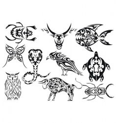 set of tribal animal tattoos vector image vector image