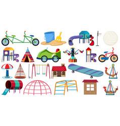 set playground equipments vector image