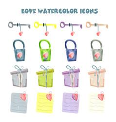 Set watercolor hearts hand-drawn various vector