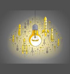shining light bulb and set launching rockets vector image