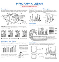 sketch graphs and elements for infographics vector image