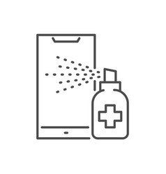 Smartphone disinfection thin line icon vector