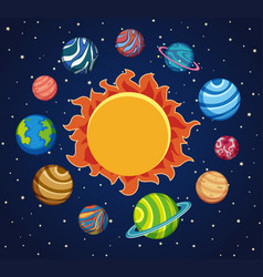 Solar system background with planets around the vector