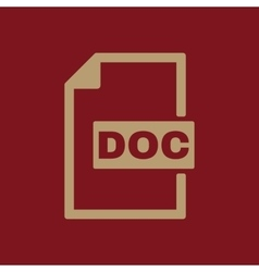 The DOC icon Text file format symbol Flat vector
