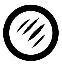 Trail of claws black icon in circle vector
