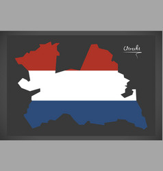 Utrecht netherlands map with dutch national flag vector