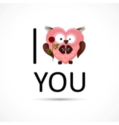 Valentines owl love you card vector
