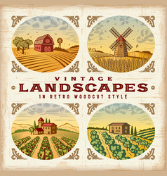 Vintage colorful landscapes set vector