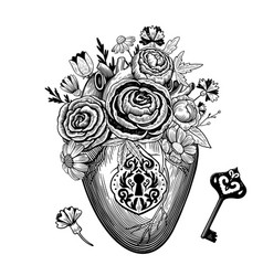 Vintage composition heart with flowers retro vector