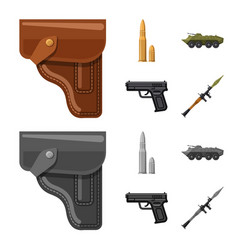 weapon and gun symbol set vector image